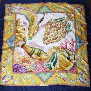 Salvatore Ferragamo Fish Silk Scarf